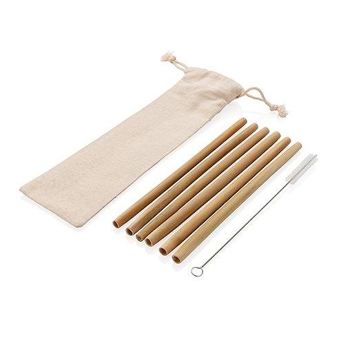 Wiederverwendbares Bambus Trinkhalm Set 6-tlg