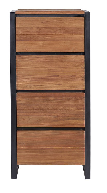 d-Bodhi, Kommode Fendy, recyceltes Teakholz, braun, 4 Schub, 116x55x40cm