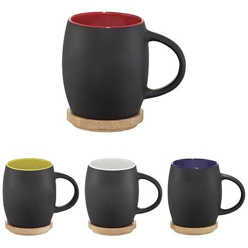 Hearth 400 ml Keramiktasse mit Holz-Deckel/Untersetzer