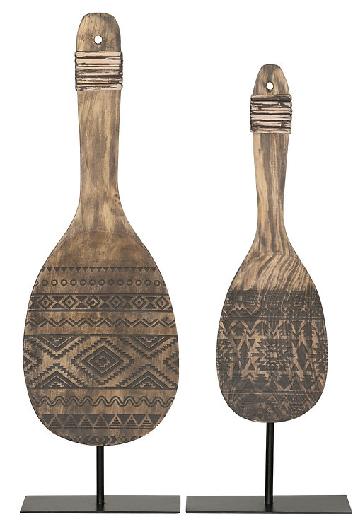 MUST LIVING, Standdeko Tribal Spoon, Teakholz, natur, 2er Set