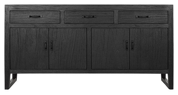 MUST LIVING, Sideboard Black Jack, Zedrachholz, schwarz, 4-türig, 80x160x40cm