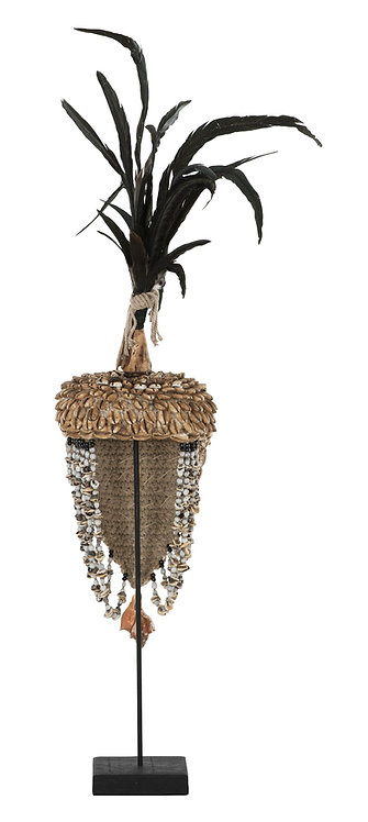 MUST LIVING ,  DEKO Balinese hat with shell and feather 2