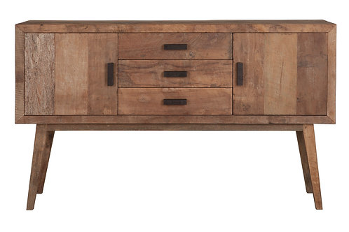 MUST LIVING, Sideboard Vintage, recyceltes Teakholz, braun, 90x153x43cm