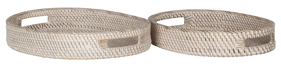 MUST LIVING, Tablett-Set Saint Barths oval, Rattan, natur, 2er Set