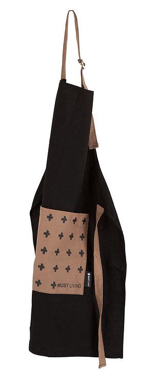 MUST LIVING, Schürze Apron ,Baumwolle, schwarz, mit Tasche, 75cm