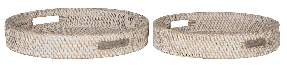 MUST LIVING, Tablett-Set Saint Barths rund, Rattan, natur, 2er Set