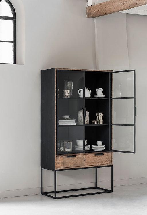 DTP Home, Vitrine, 2 Türen, 2 Schubladen, braun schwarz