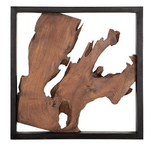 MUST LIVING, Wanddeko Panel Trunk, recyceltes Teakholz, braun, 50x50cm