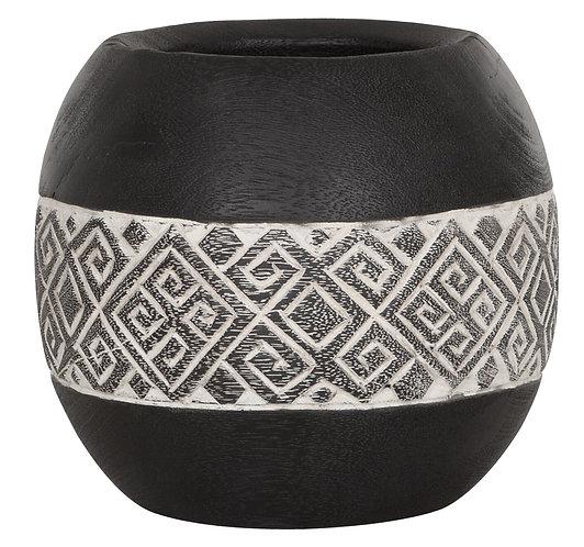 MUST LIVING, Mood for Wood, Vase Tribal, Teakholz, schwarz