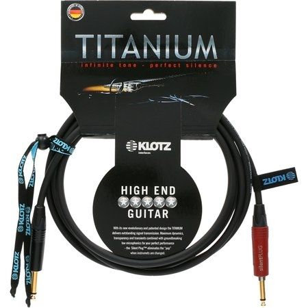 HighEnd Guitar Titanium, 2X Jack Plug 2P Gold,3m, Straight-Straight Silent Plug