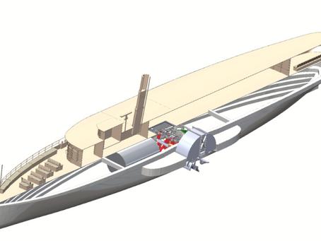 Umbau des Modells für Schleppversuche in ein Ausstellungsmodell
