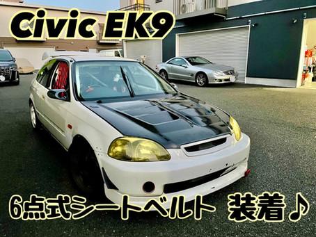 Civic EK9 6点式シートベルト装着!