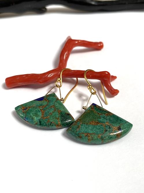 Chrysocolla Fan Earrings