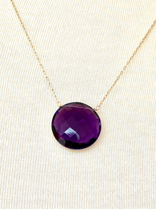 Round Amethyst Pendant Necklace