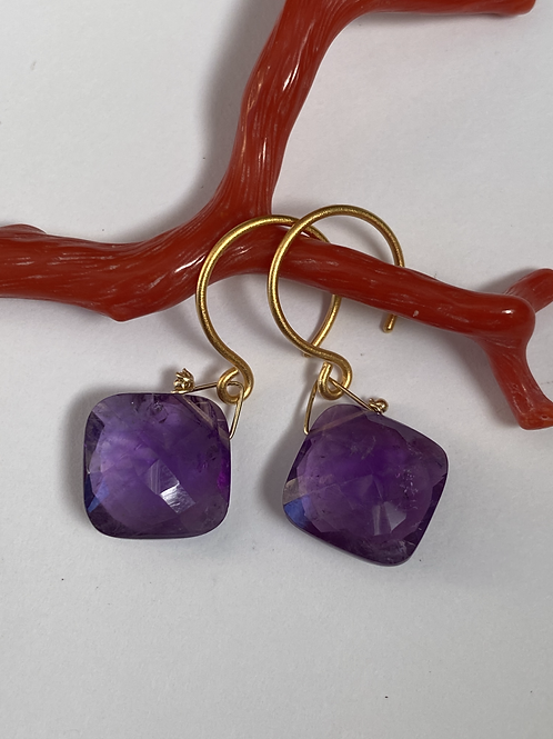 Amethyst Cushion Earrings