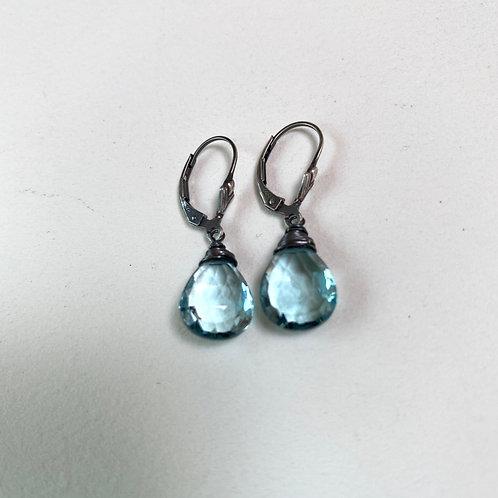 Aquamarine Blue Earrings/ Gold or Silver