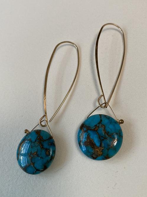 Copper Blue Ocean Turquoise Earring Drop