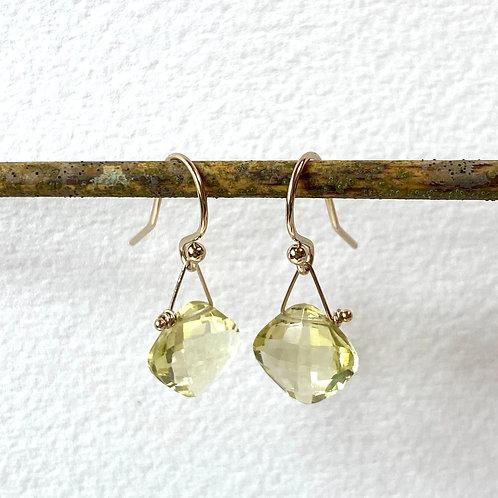 Lemon Quartz Faceted Earrings