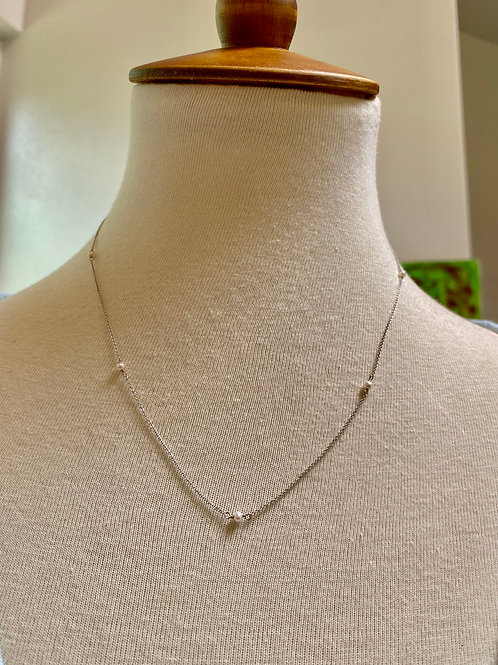 Tiny Necklace 14k White Solid Gold