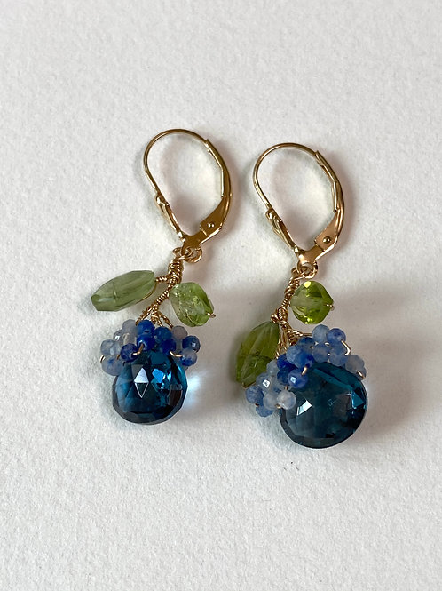 The Fruit Earring mini blue topaz with peridot and cluster of chalcedony beads