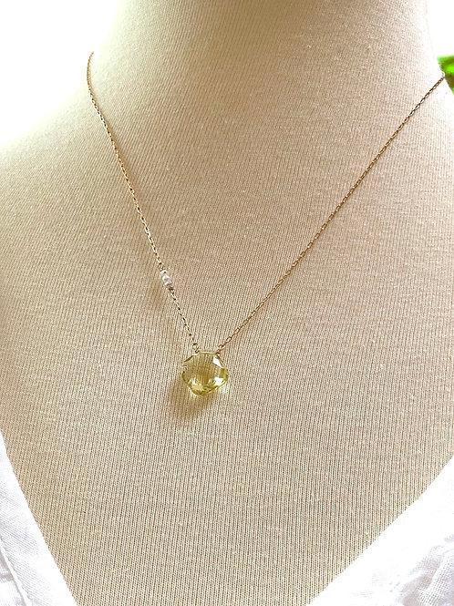 Lemon Quartz Pendant Necklace