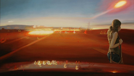 Island-If You Just Hold in Your Breath, 2010, oil on canvas, 26x44 in.