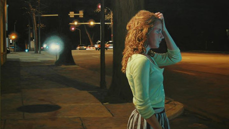 Departure - Cara Walking, 2012, oil on canvas, 30x46 in. /private collection