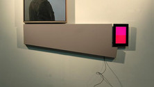 Departure – You Can't Go Home Again, 2012, oil on canvas, shaped canvas, video monitor, electronic parts, 76x52x14 in.