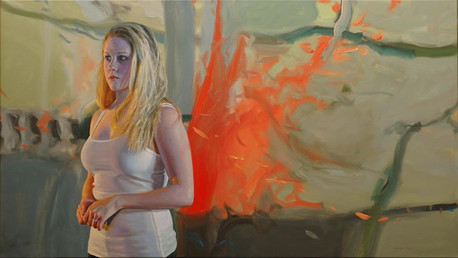Composition in Orange, 2012, oil on canvas, 25x44 in.