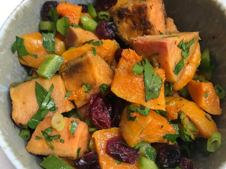 Sweet Potato and Winter Squash With Dried Cranberries And Red Onion