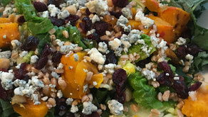 Greens with Butternut Squash, Farro, Blue Cheese, And Apple Cider Vinaigrette