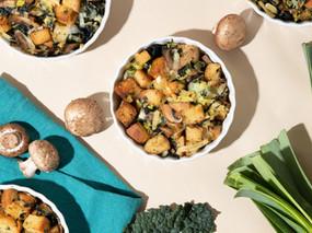 Mushroom and Kale Savory Bread Puddings