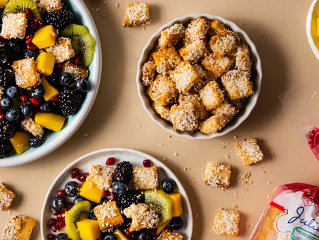 Tropical Fruit Salad With Coconut Crusted Croutons