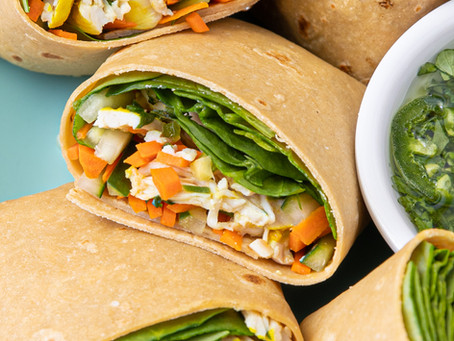 Rainbow Thai Chicken Salad Wraps