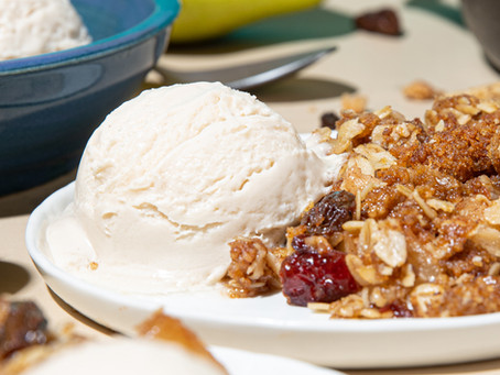 Cranberry and Pear Cobbler with Snickerdoodle Crumble Topping