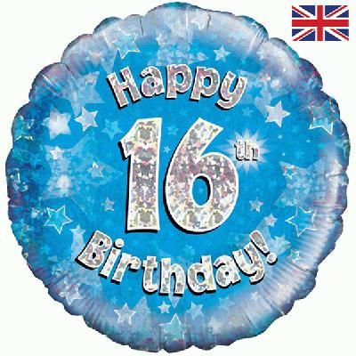 "Blue Happy 16th Birthday 18"" Foil Helium Balloon"