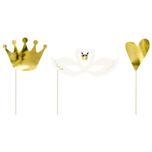 Swan photo props DIY kit. 3 pack - crown, heart, swans