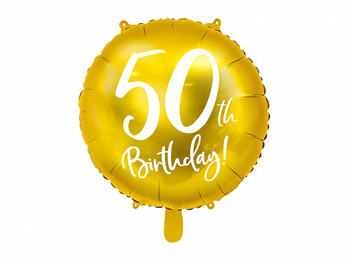 "Gold 50th Birthday 18"" Foil Helium Balloon"