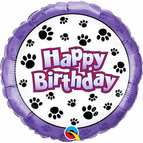 "Dog Paw Happy Birthday 18"" Foil Helium Balloon"