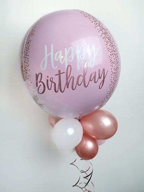 Happy Birthday Blush Pink, Rose Gold & white Orbz Balloon Helium filled