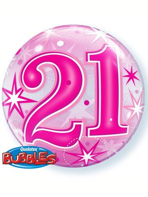 """Pink/Clear 21st Birthday Bubble Balloon Helium filled 22"""""""