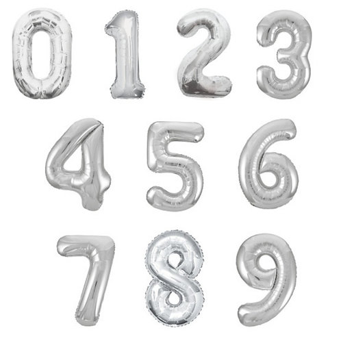 "Silver Number Balloon Giant 34"" Helium Foil Balloon 0-9 Inflated"