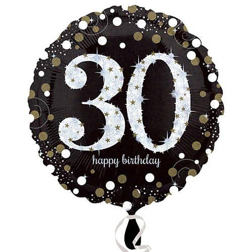 "Black Silver Gold Sparkling 30th Happy Birthday 18"" Foil Helium Balloon"