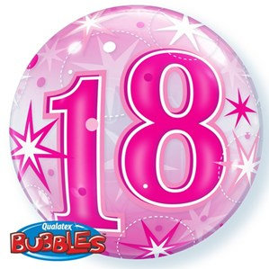 Pink/Clear 18th Birthday Bubble Balloon Helium filled 22""