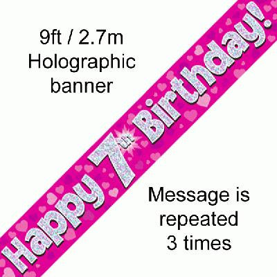 Pink Holographic 'Happy 7th Birthday' Banner 9ft/2.7m