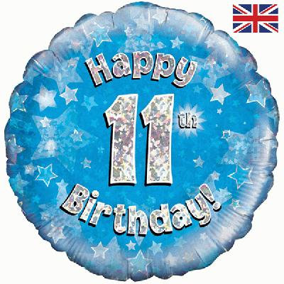 "Blue Happy 11th Birthday 18"" Foil Helium Balloon"
