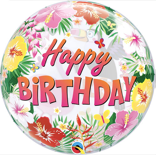 """Happy Birthday Clear Tropical Themed Bubble Balloon Helium filled 22"""""""