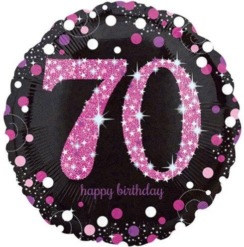 "Black & Hot Pink Sparkling 70th Happy Birthday 18"" Foil Helium Balloon"
