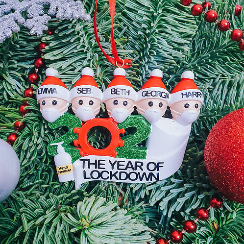 Lockdown themed 2020 Personalised Family Christmas Tree Decoration