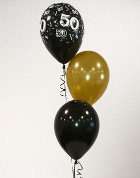 balloon bunch 50th birthday black gold l
